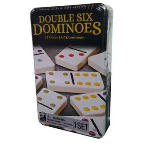 Classic Double 6 Coloured Dominoes In A Tin