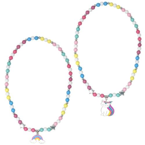 Rainbow caticorn beaded necklace