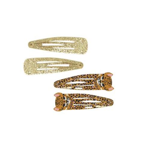 Leopard & glitter snapclips set of 4