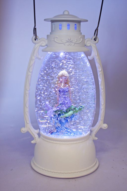 Glitter oval lantern with surfing mermaid