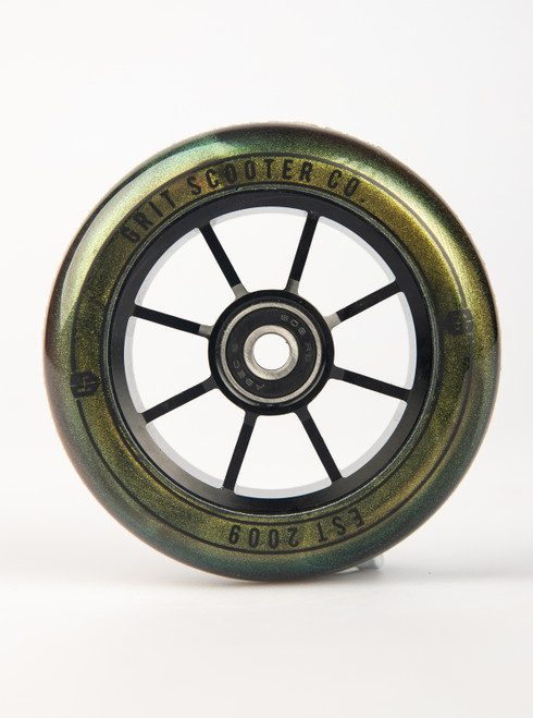 Alloy 100mm wheel gold urethene with black core (pair)