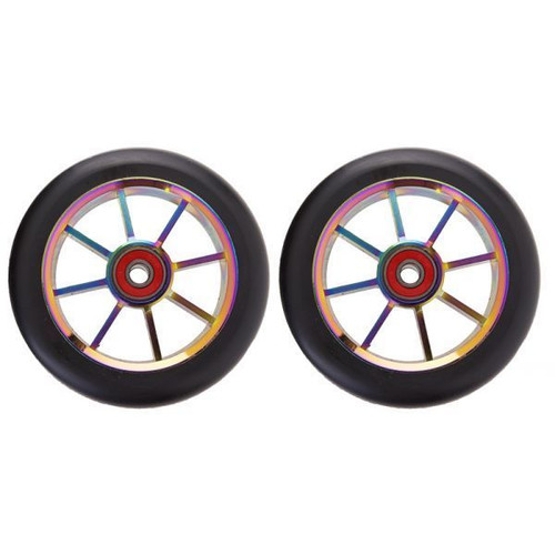 8 spoke 100mm wheels colour cp core with black pu (pair)