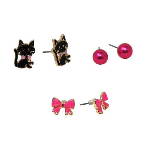 Kittens & Bows Earing Set of 3