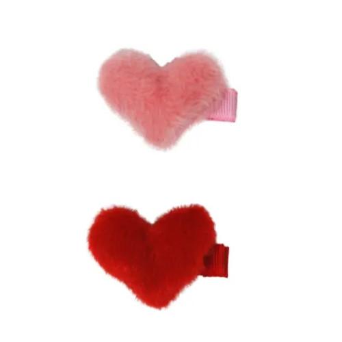 Fluffy Heart Hairclips