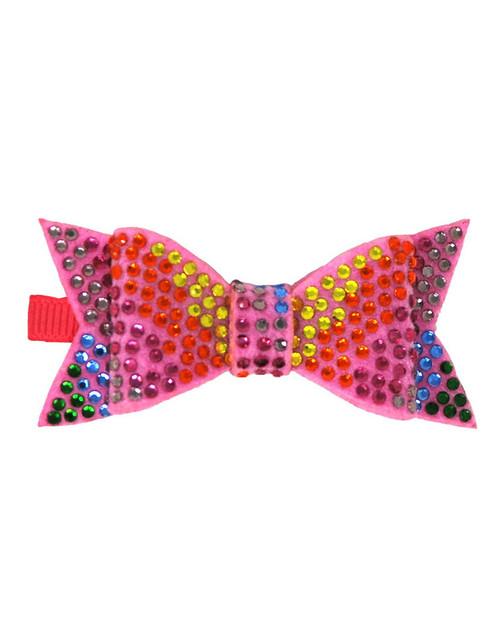 Rainbow Rhinestone Bow Hairclip