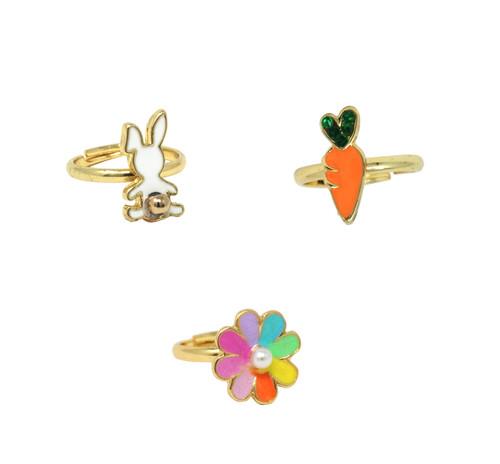Bunny Garden Adjustable Ring set of 3
