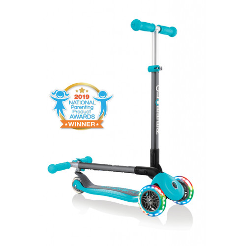 Globber Primo Foldable Scooter with Lights - Teal