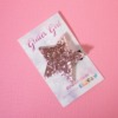 Glitter Girl - Glitter Star Hair Clip Baby Pink