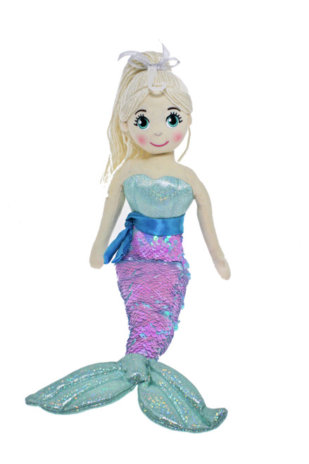 45cm Eliza Pink/Blue Mermaid Flip Sequined Tail