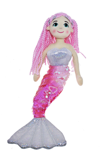 45cm Fairy Silver Pink Mermaid Flip Sequined Tail