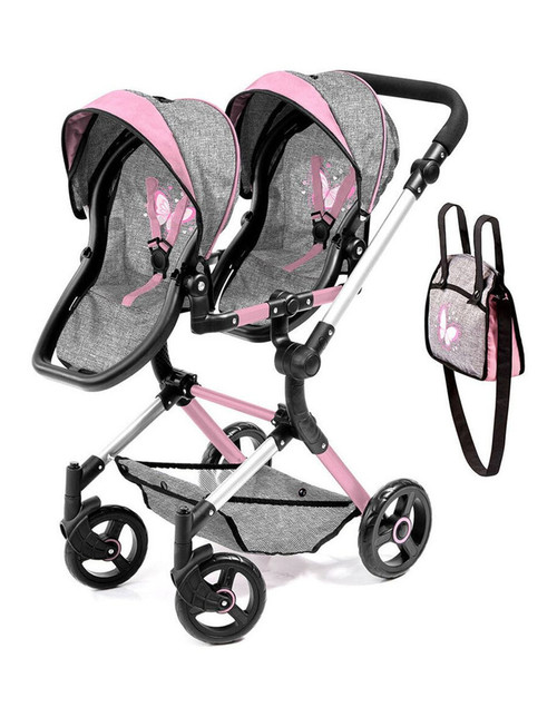 Bayer Neo Twin Doll Pram - Grey & Pink with Butterfly