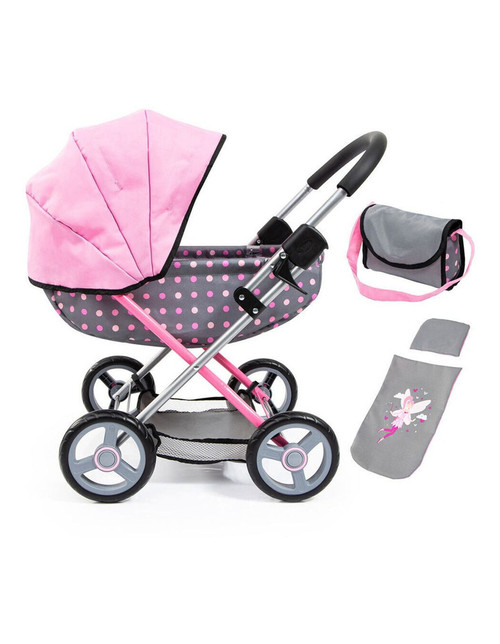 Bayer Cosy Doll Pram - Grey with Pink Spots & Pink Hood