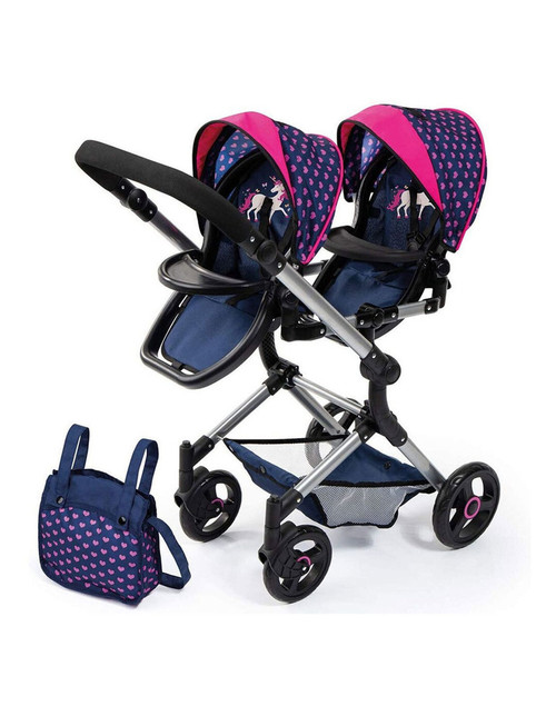 Bayer Neo Twin Doll Pram - Blue with Pink Hearts & Unicorn