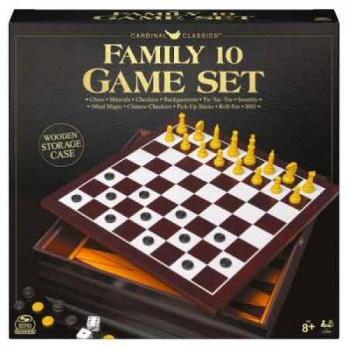 Classic Family 10 Game Set In Wooden Storage Case