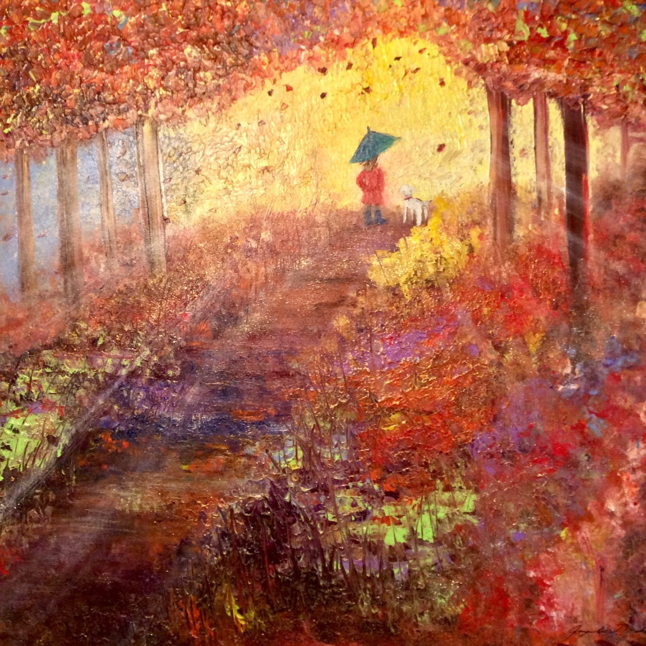 Never walk alone is a large square mixed media painting on canvas