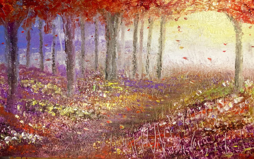 Spectacular wonder is a large mixed media painting. 30 x48