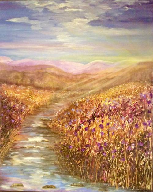 Majestic Comfort is a large original mixed media painting. 48 x 60