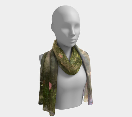 Surround yourself with  Inner Stillness. This scarf was created from a image of an original Jacqueline Drake Mixed media painting named Inner Stillness.