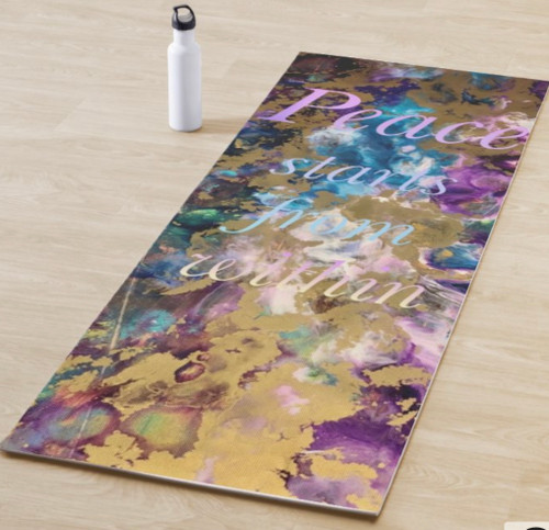 Everyone needs to find some time to find their Peace within. This yoga mat will be a comfortable reminder to find your peace within.   Peace starts within yoga mat was created from an original Jacqueline Drake Mixed media ms resin painting.
