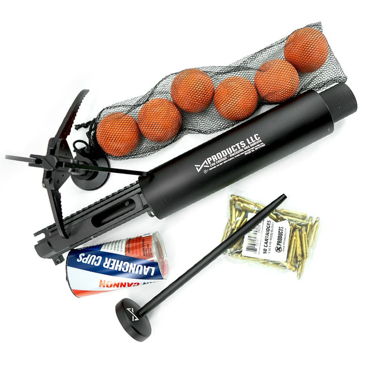 Can Cannon Launcher Package with grappling hook, balls, cup, spear and 50 blank cartridges