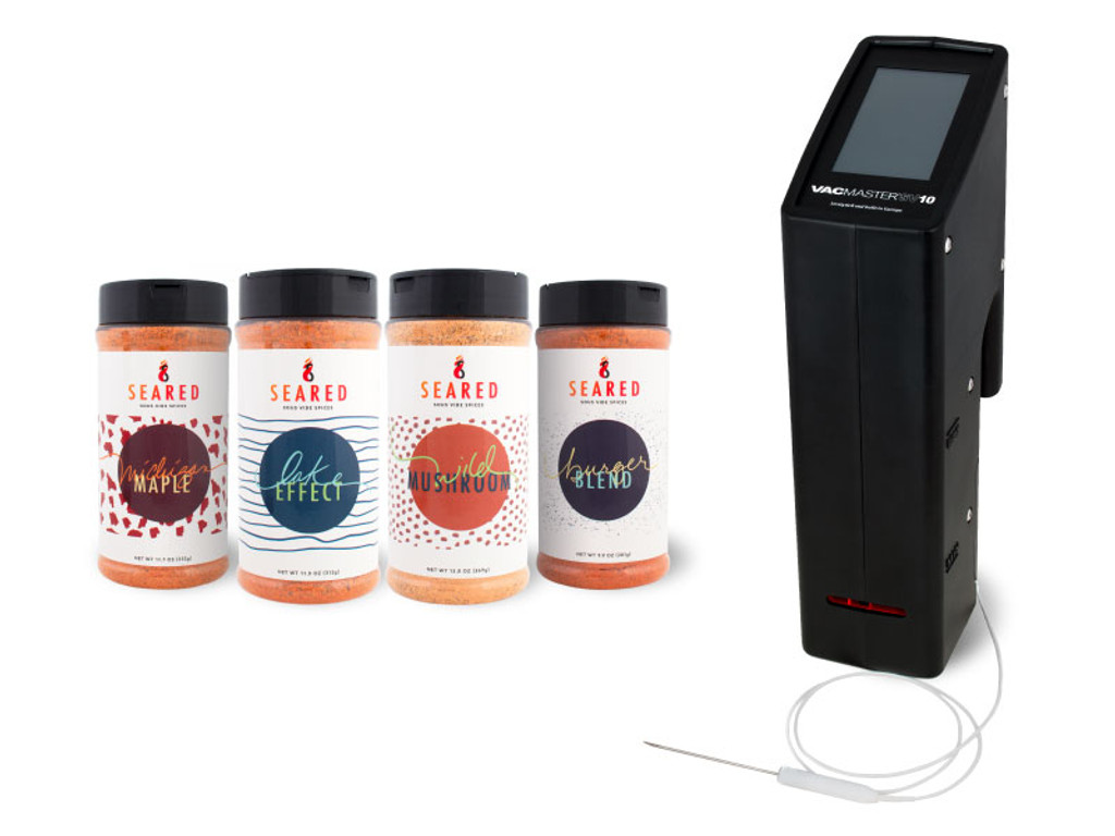 VacMaster SV10 Immersion Sous Vide Circulator touch screen with SEARED Spice collection