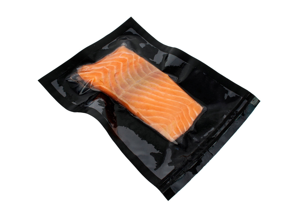 3Mil Black and Clear Vacuum Chamber Bag with Salmon