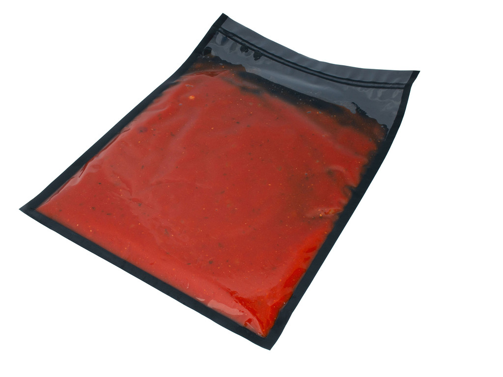 3Mil Black and Clear Vacuum Chamber Bag with Tomato Sauce