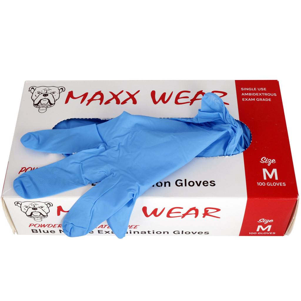 Maxx Wear Blue Powder Free Nitrile Glove 4 Mil Open Box