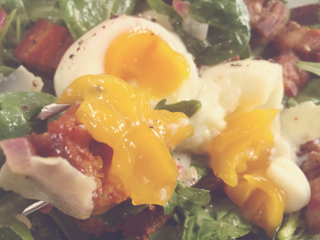"""""""Egg Salad"""" with Crispy Pork Belly, Gruyere and Bitter Greens"""