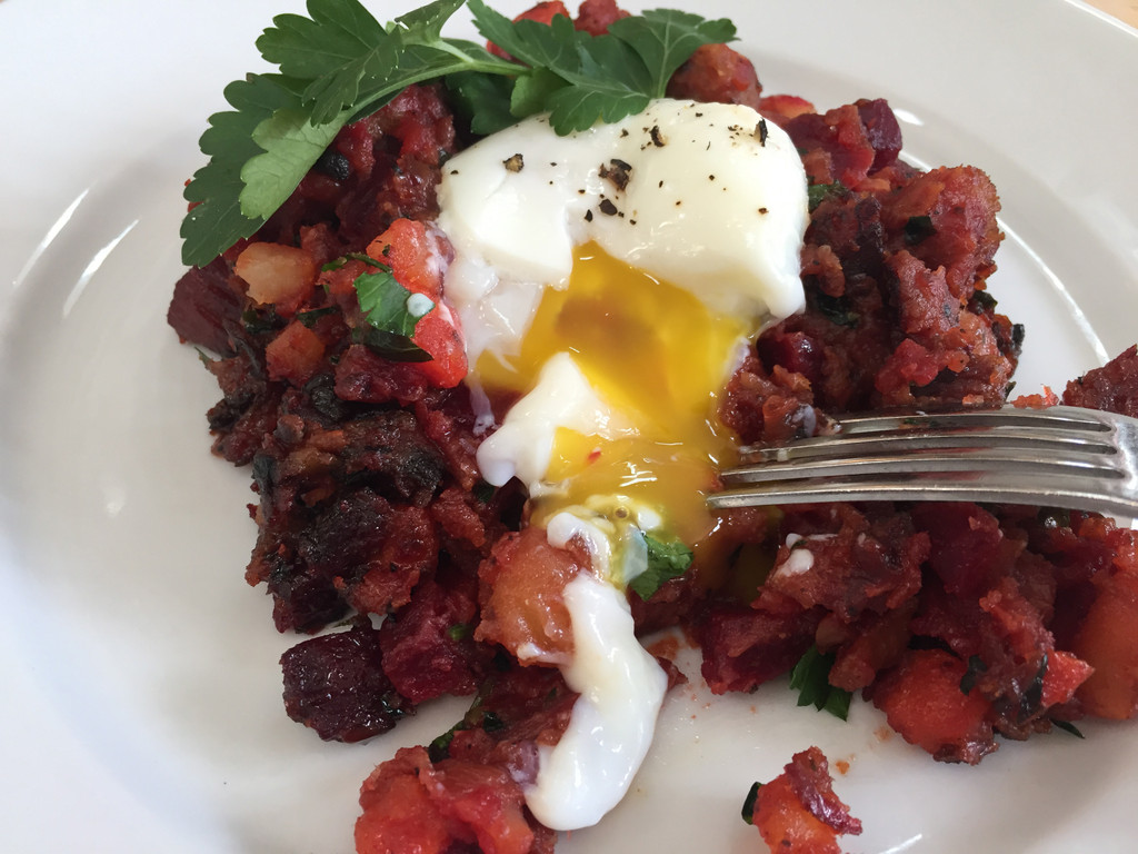 Red Flannel Corned Beef Hash with Eggs Sous Vide