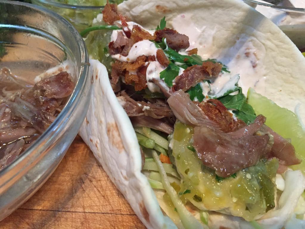 Duck Tacos with Tomatillo Salsa & Chipotle Cream