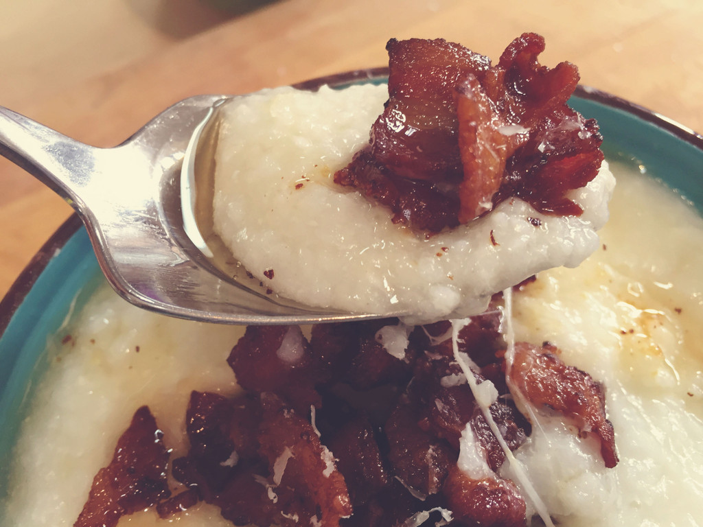 Hominy Grits With Fresh Mozzarella, Parmesan and Bacon Sous Vide