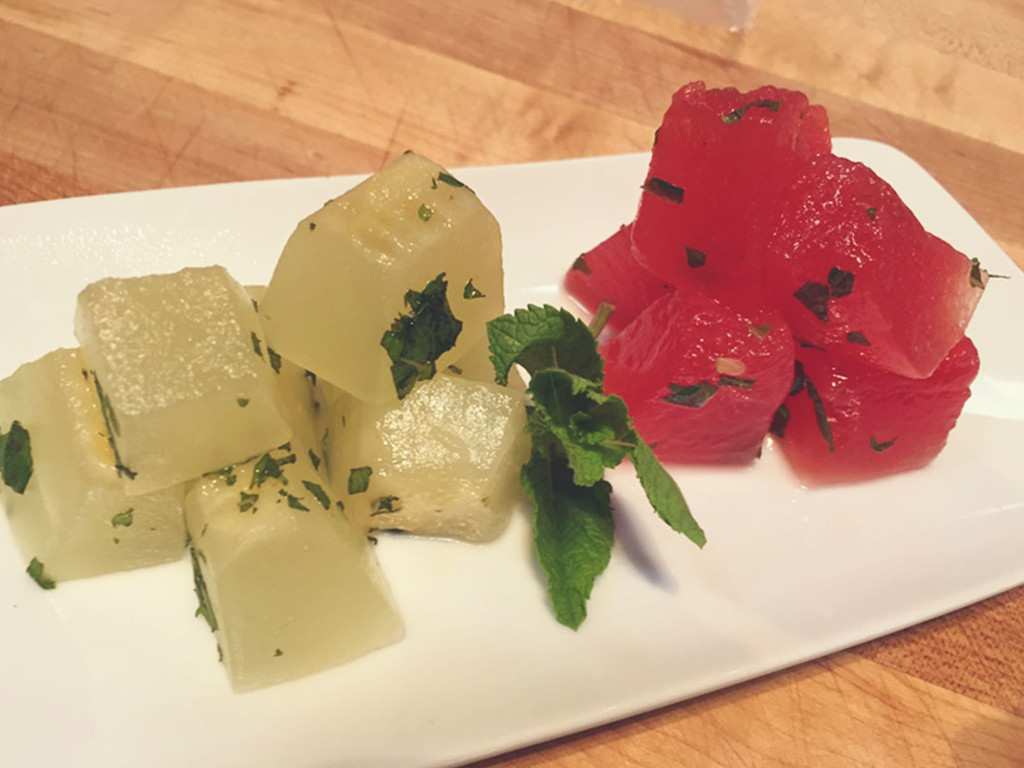 Compressed Watermelon & Cantaloupe Infused with Honey, Mint and Lime