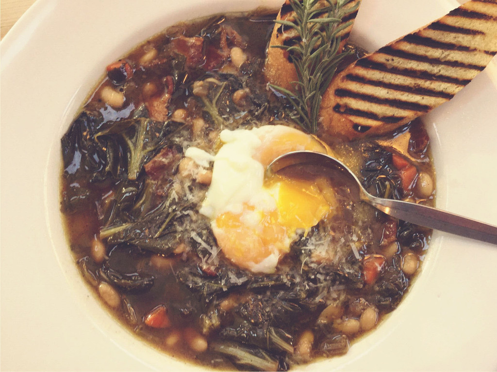 Michigan White Bean Soup With Collard Greens And Bacon Sous Vide
