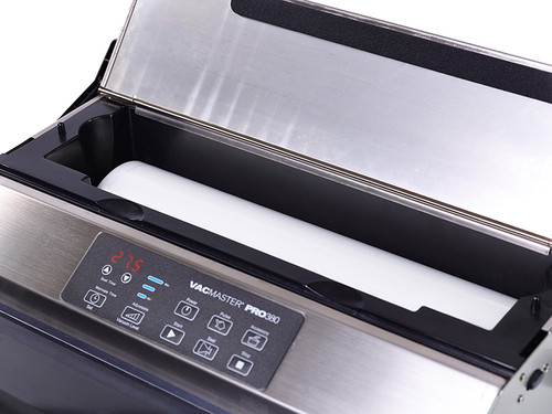 Vacmaster PRO380 vacuum sealer with food bag storage
