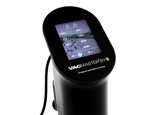 VacMaster SV5 Sous Vide Circulator close up touch screen language options
