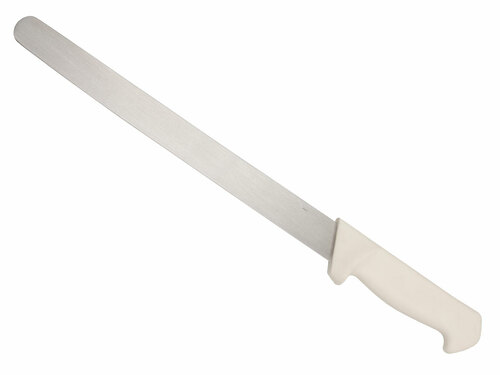 "12"" Plain Edge Slicer - White Poly Grip Handle"