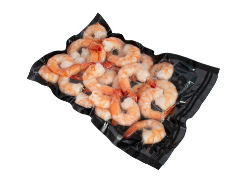 3Mil Black and Clear Vacuum Chamber Bag with Shrimp