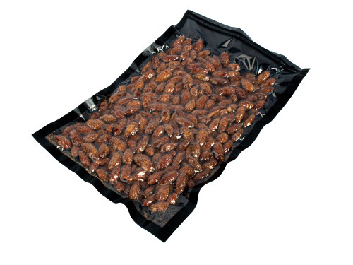 3Mil Black and Clear Vacuum Chamber Bag with Almonds
