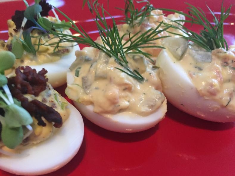 Smoked Bacon and Salmon Gravlax Deviled Eggs Recipes