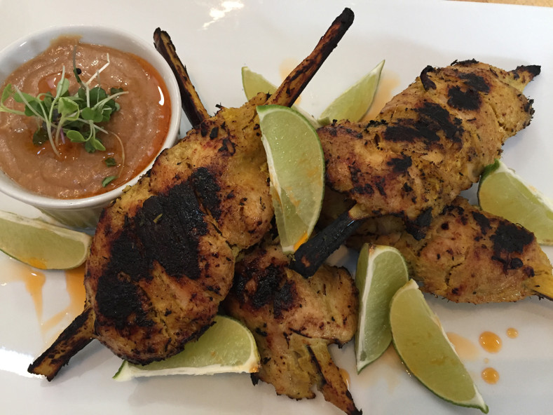 Chicken Sugarcane Skewers Sous Vide with Peanut Sauce