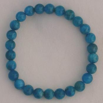 Apatite Blue 7 mm Round Bead Stretch Bracelet