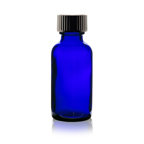 1 oz Cobalt Blue Glass Bottle with Cap and Reducer