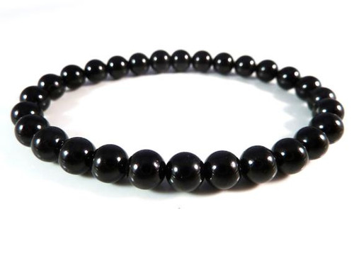 Black Tourmaline Bead Bracelet 6mm