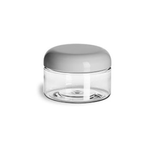 4 oz Flat Clear PET Jar w/ White Dome Lid 70mm