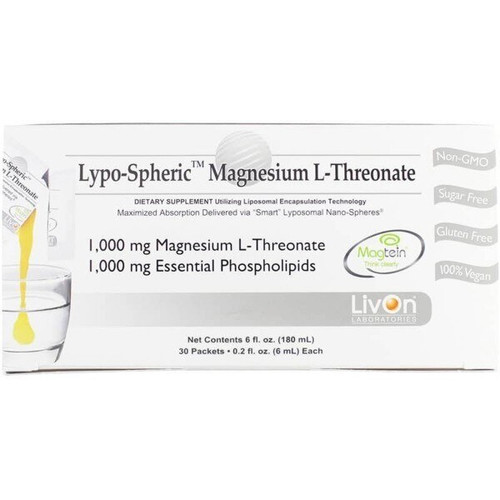 Lypospheric Magnesium L-Threonate Box of 30 Packets