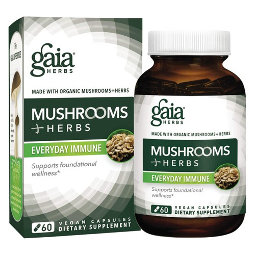 Gaia Herbs Everyday Immune Mushroom Herbs 60 Capsules