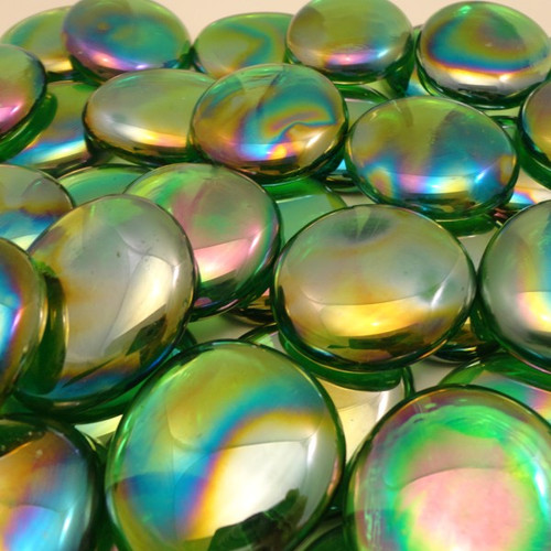 10 lbs Large Light Green Glass Gems 35-45 mm Approx 1.5 inch Clear Iridescent Mosaic Quality