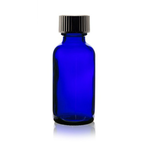 1 oz Cobalt Blue Glass Bottle with Phenolic Cap & Cone