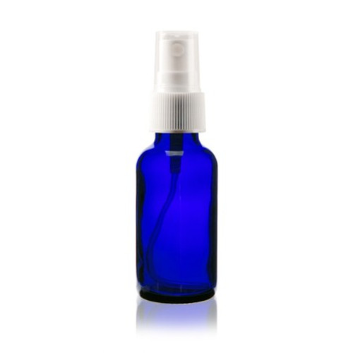 1 oz Cobalt Blue Plastic Bottle with White Spray Atomizer